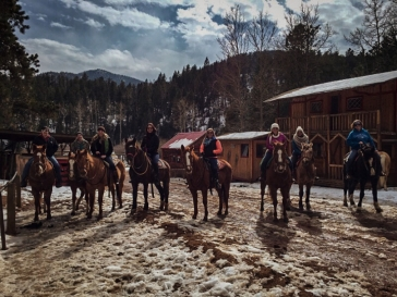 Riding horses through Colorado's Cheyenne Mountain